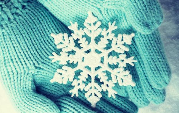 Фото обои зима, снег, руки, снежинка, варежки