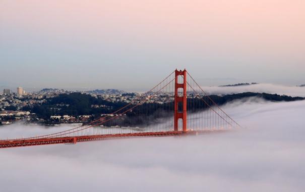 Фото обои мост, огни, туман, сан франциско, golden gate bridge