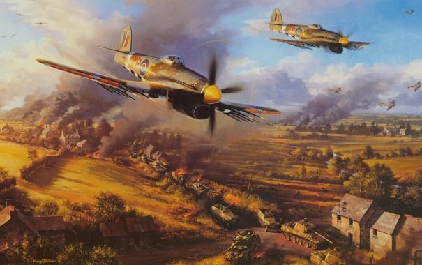 Фото обои небо, самолет, атака, дым, дома, танк, поле боя