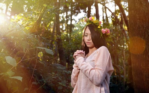 Фото обои девушка, фон, азиатка
