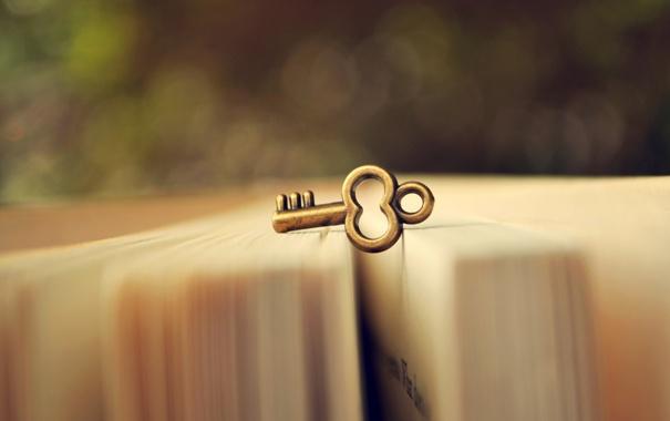 Фото обои макро, размытость, ключ, книга, страницы, боке, ключик