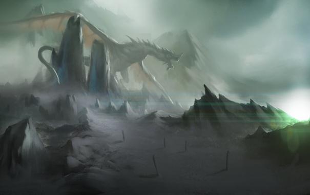 Фото обои горы, камни, дракон, арт
