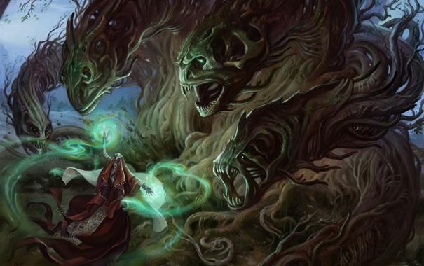 Фото обои девушка, корни, магия, монстр, арт, маг, головы