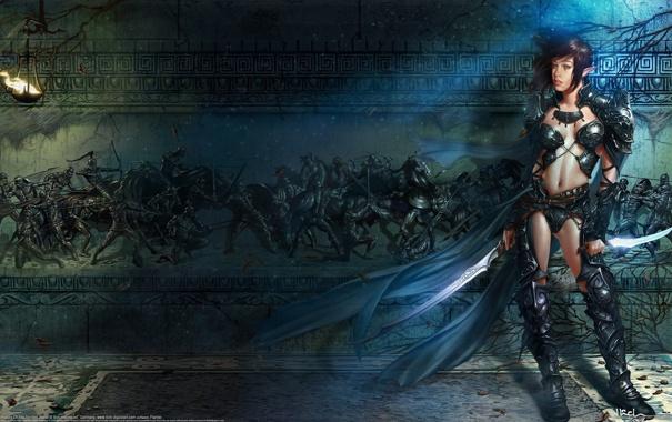 Фото обои девушка, оружие, стена, эльф, арт, эльфийка, кинжалы