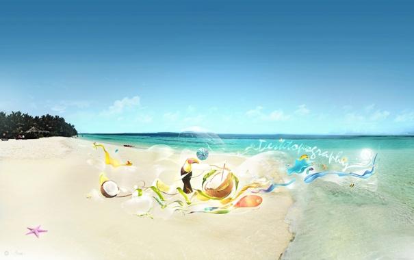 Фото обои море, пляж, птичка