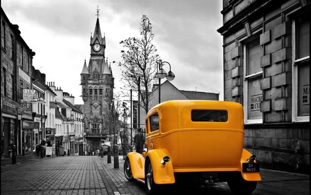 Фото обои Ford, жёлтая, чёрно-белый фон, роадстер