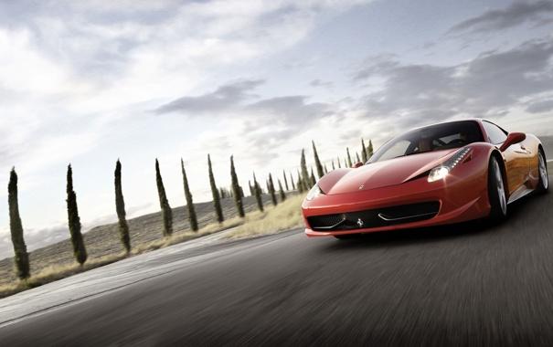 Фото обои дорога, машина, небо, пейзаж, разметка, обои, Феррари