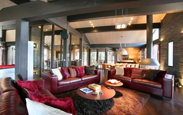 Фото обои дом, книги, коврик, столик, диваны, кухня.