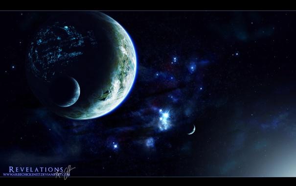 Фото обои космос, свет, планеты, спутники