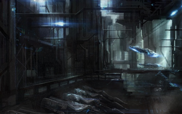 Фото обои капли, дождь, корабль, арт, ангар, cloudminedesign, транспор