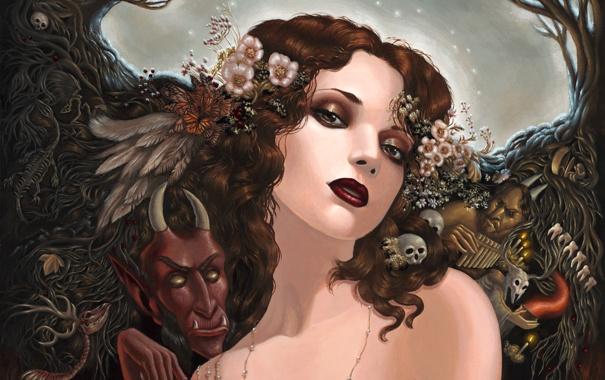 Фото обои деревья, Девушка, перья, черепа, демоны