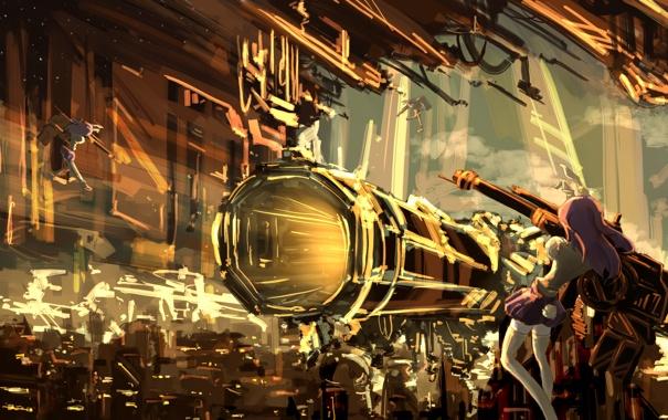 Фото обои оружие, девушки, арт, ушки, touhou, хвостик, reisen udongein inaba
