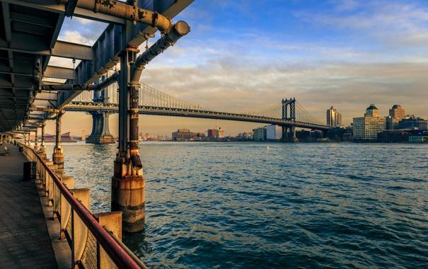 Фото обои мост, Нью-Йорк, Манхэттен, Manhattan, New York City, Ист-Ривер