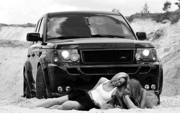 Фото обои Девушки, Машина, Две