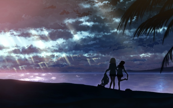 Фото обои море, небо, силуэты