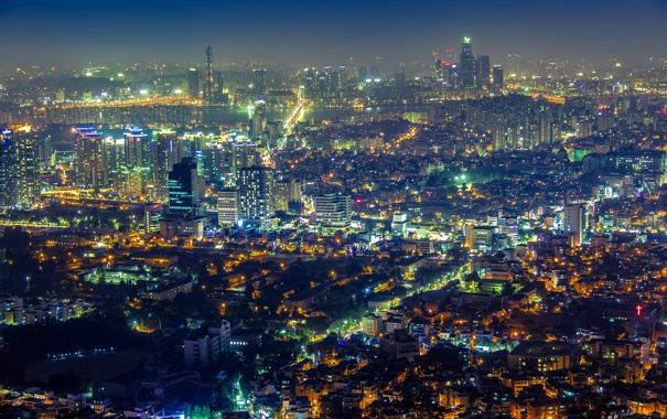 Фото обои ночь, огни, вид, панорама, небоскрёбы, Сеул, Южная Корея