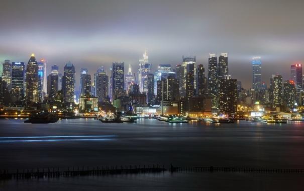 Фото обои ночь, город, New York City