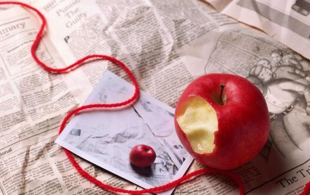 Фото обои письмо, яблоко, газета, ленточка
