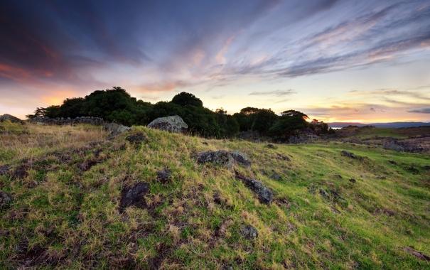 Фото обои трава, природа, камни, фото, скалы, холмы, пейзажи