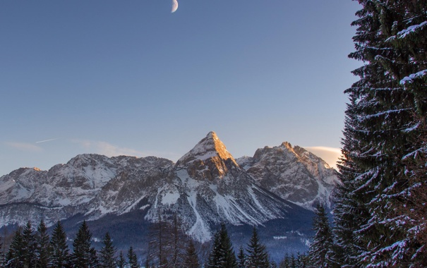 Фото обои зима, лес, снег, горы, природа