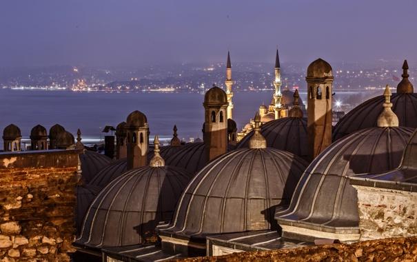Фото обои ночь, огни, пролив, собор, мечеть, Стамбул, Турция