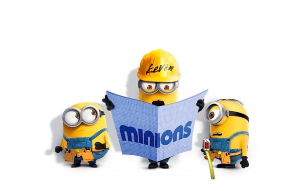 Фото обои желтые, Боб, Стюарт, Кевин, миньоны
