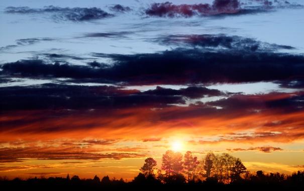 Фото обои небо, солнце, облака, закат, вечер