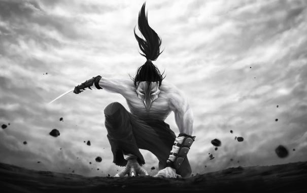 Фото обои оружие, фантастика, птица, волосы, лапы, клюв, лезвие