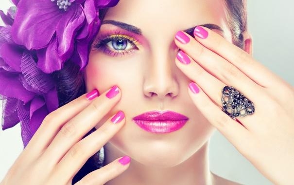 Фото обои цветок, лицо, макияж, перстень, ладонь