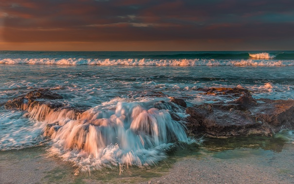 Фото обои пляж, волны, море