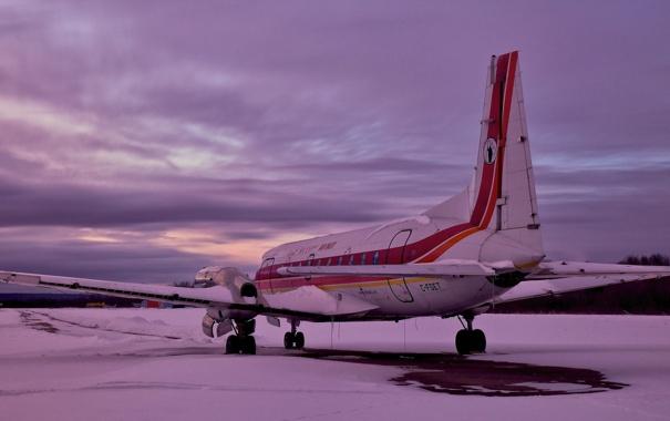 Фото обои закат, самолёт, аэродром, HS 748