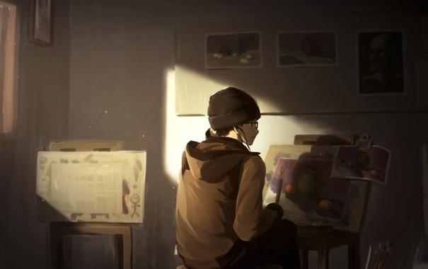 Фото обои аниме, наушники, арт, очки, парень, кисть, мольберт
