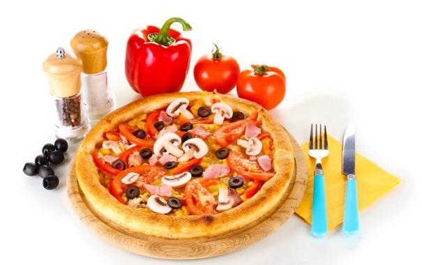 Фото обои грибы, еда, нож, перец, помидоры, оливки, специи