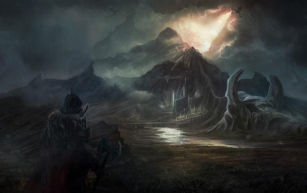 Фото обои пейзаж, горы, город, дождь, огонь, дракон, человек