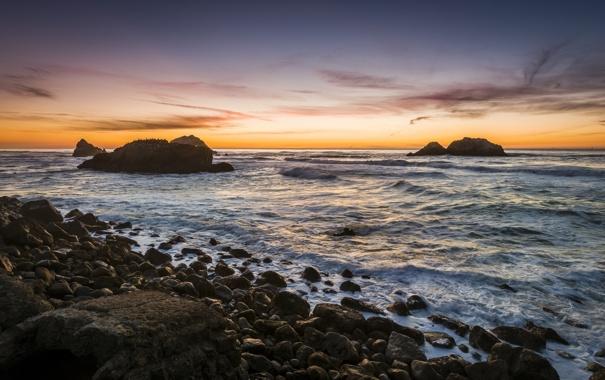 Фото обои закат, камни, океан, скалы