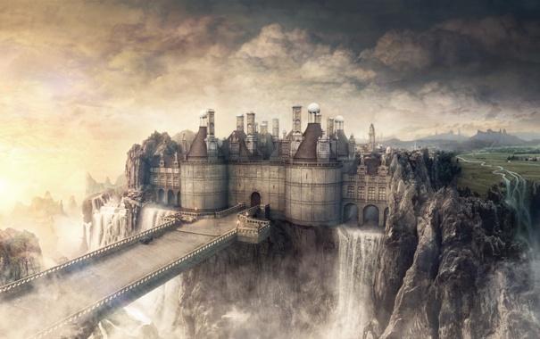 Фото обои небо, облака, мост, замок, водопад
