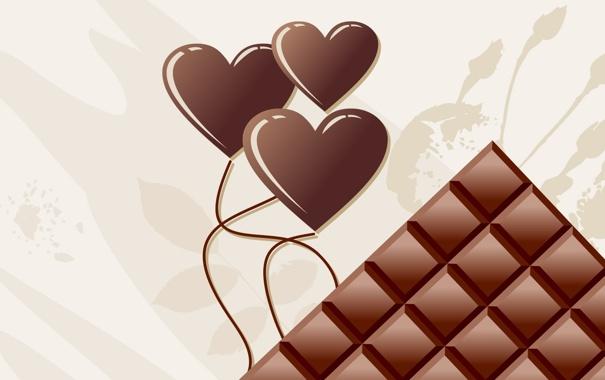 Фото обои шоколад, арт, сердечки