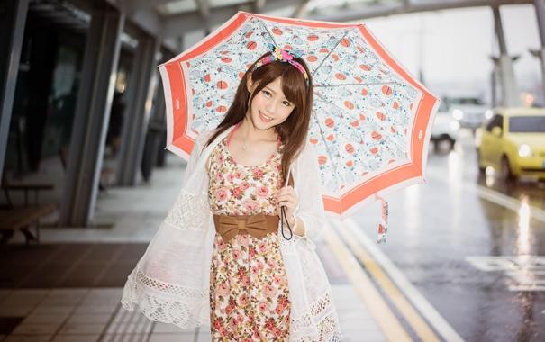 Фото обои девушка, улыбка, зонт