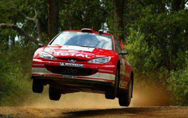 Фото обои rally, авто, car, прыжок, 206, peugeot, ралли