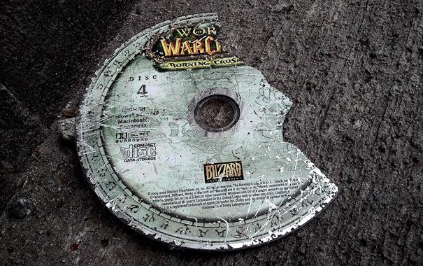Фото обои фон, диск, Warcraft, поломанный
