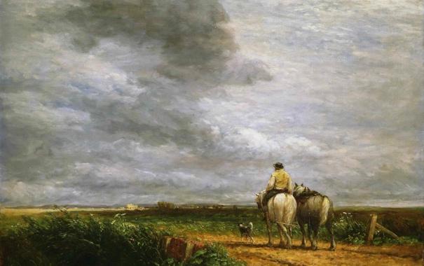 Фото обои дорога, небо, пейзаж, тучи, лошадь, собака, картина