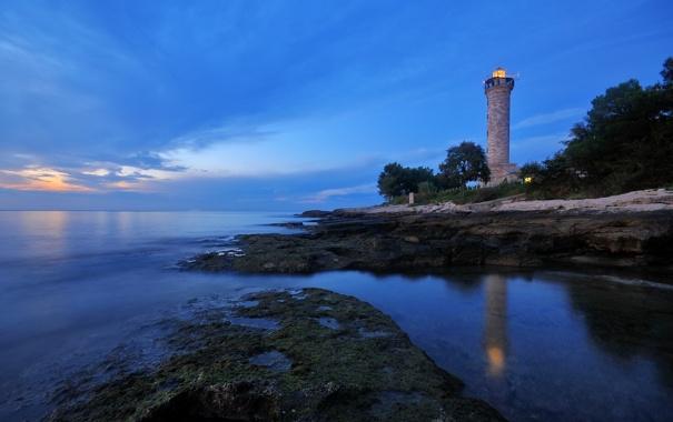 Фото обои море, побережье, маяк, вечер, Хорватия, Istarska, Salvore