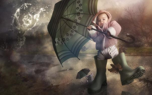 Фото обои фон, зонт, ребёнок