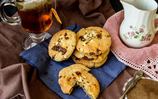 Фото обои tea, cookies, пирожное, еда, biscuits, бисквиты, сладкое