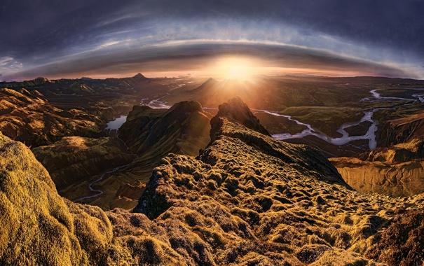 Фото обои горы, природа, утро