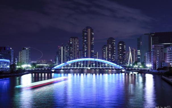 Фото обои свет, ночь, мост, город, огни, пролив, река