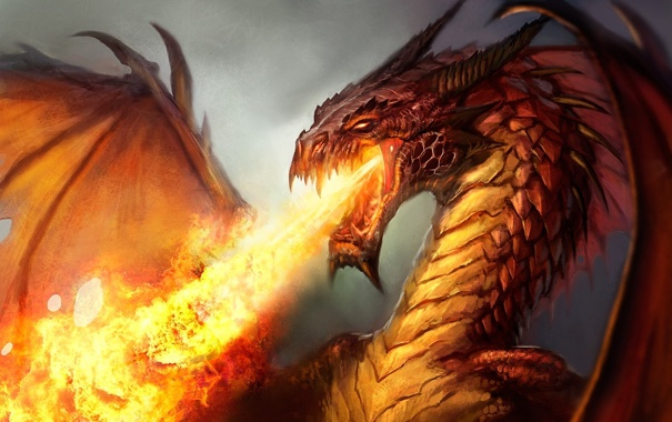 Фото обои огонь, пламя, дракон, крылья, арт, злой
