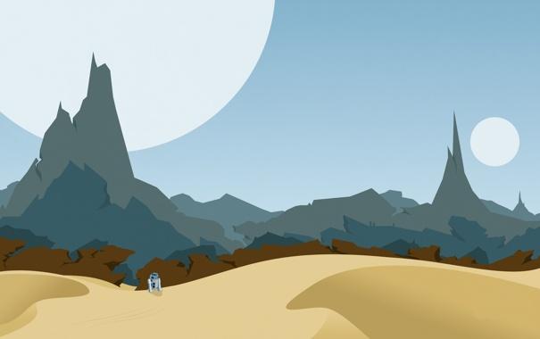Фото обои скалы, небо, песок, c-3po, планета, пустыня, звездные войны