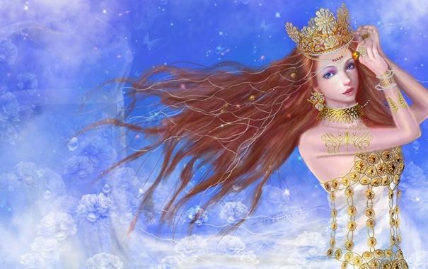 Фото обои девушка, украшения, цветы, фон, корона, арт