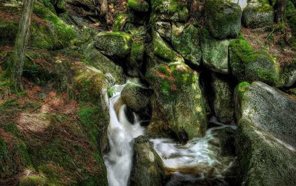 Фото обои река, ручей, камни, скалы, мох, поток